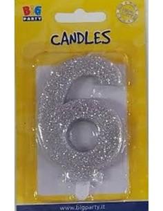 Candelina di cera  8 cm numero 6 di colore argento  con brillantini incorporati   pz 1