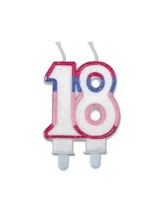 Candelina di cera  Sagomata 18 Anni di colore( Bianco ,rosa, lilla e Fucsia )  con brillantini 6cm x 7cm  pz 1