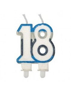 Candelina di cera  Sagomata 18 Anni di colore( Bianco blù celeste e grigio )  con brillantini 6cm x 7cm  pz 1