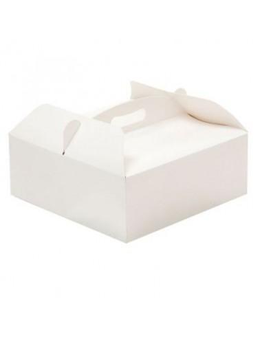 Scatola quadrata  porta torta o dolcetti  con manico - in cartone  bianco - 23 cm x 23 cm h 10 - 1 pz - DECORA