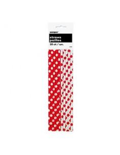 CANNUCCE DI CARTA ROSSE A POIS BIANCHI - Confez. 10 pezzi - Cartoncino Rigido - Lunghezza : 21 cm - Unique