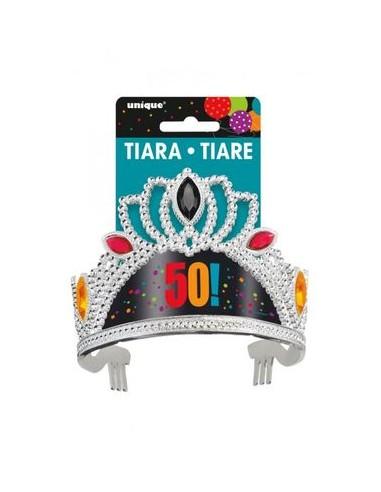 Corona / Tiara Compleanno 50 anni - 1 pezzo - plastica - color argento e colorata - Unique