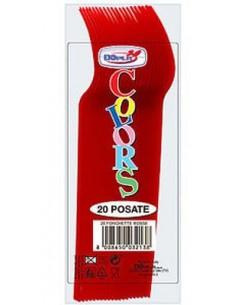 Forchetta  colore rosso in plastica conf. da 20 pz  dimensione 18 cm