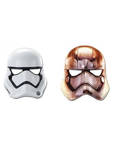 MASCHERE STAR WARS : 3 Captain Phasma + 3 Stormtrooper - Confez. 6 pezzi - Cartoncino rigido - Disney