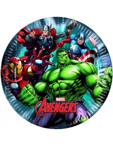 Piatti AVENGERS POWER (Marvel) - diametro 19,5 cm - Confezione da 8 pezzi - Nuovo