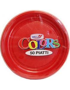 Piatto Frutta Dessert  di plastica pz.50 colore rosso  dopla