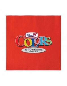 Tovaglioli in carta monouso  colore rosso doppio velo  33x33 pz.50