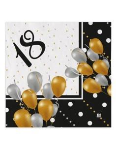 Tovaglioli Compleanno 18 anni Nero Oro Bianco e Argento - 20 pezzi - 33 cm x 33 cm - 3 veli - Unique