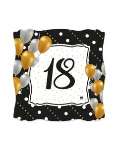 Piattini in cartoncino quadrati  18 anni Nero Oro Bianco e Argento - 8 pezzi - 19 cm x 19  cm